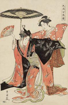 Two Women Dancing. Ukiyo-e woodblock print. ca. 1800, Japan. Utagawa Toyokuni
