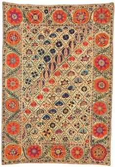 Antique Suzani is a type of decorative embroidered tribal textile made in Central Asian countries prior to the early 20th century.