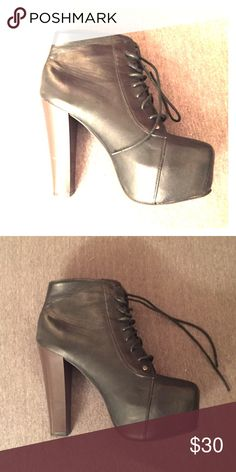 Faux Jeffrey Campbell booties Jeffrey Campbell style black booties with dark faux wood heel. NEVER WORN! Perfect condition! Shoes Ankle Boots & Booties