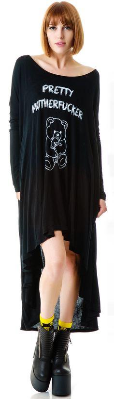 United Couture Pretty Motherfucker Long Sleeve Dress | Dolls Kill