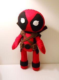 Felt Deadpool inspired custom plush stuffed rag doll toy Marvel comics