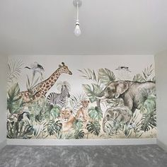 LOVASIS - Wallpaper for children with animals - safari wallpaper - Custom Wallpaper - Nursery wallpaper - LOVASIS Wallpaper for children with animals safari Nursery Wall Murals, Nursery Wallpaper, Kids Wallpaper, Animal Wallpaper, Custom Wallpaper, Nursery Room, Baby Bedroom, Baby Boy Rooms, Kids Bedroom