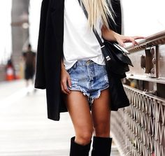 Knee high boots & denim shorts