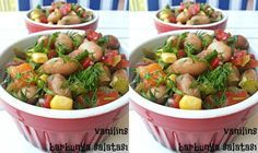 Barbunya Salatası Tarifi Turkish Salad, Turkish Recipes, Ethnic Recipes, Starters, Fruit Salad, Potato Salad, Salads, Brunch, Yummy Food