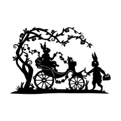 Rabbit Family Fairytale, Black and White, Paper Cut Silhouette, Fantasy, Flower, Garland, Parade via Etsy