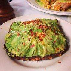 Avocado toast! This is so amazing! It's in Nolita,             Cafe Gitane  242 Mott St. New York, NY 10012