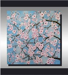 Original Fine Art, Modern Textured Art, Pink Cherry Blossom Flowers, Abstract Landscape, Ready to Hang 24x24 Acrylic Painting