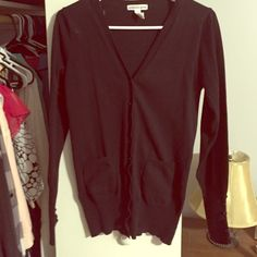 Black button down cardigan 80% cotton black cardigan. Super cute button detail on each sleeve! Sweaters Cardigans