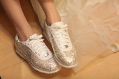 Nike bejeweled tennis shoes to wear on the big day instead of painful heels!
