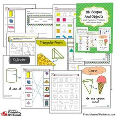 and Shapes Worksheets Bundle - Printables & Worksheets 3d Shapes Worksheets, Kindergarten Math Worksheets, Printable Worksheets, Printables, Geometric Shapes Drawing, 2d And 3d Shapes, Triangular Prism, Primary Maths, 2nd Grade Math