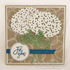 For you card using Stampin Up Thoughtful Branches bundle. By Di Barnes ~background Serene Scenery DSP~ Homemade Greeting Cards, Greeting Cards Handmade, Hydrangea Colors, White Hydrangeas, Handmade Card Making, Wedding Anniversary Cards, Container Flowers, Fall Cards, Stamping Up