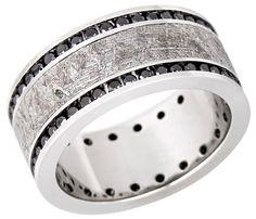 Platinum band with Gibeon meteorite inlay and 0.96 ct. t.w. black diamonds, $5,600