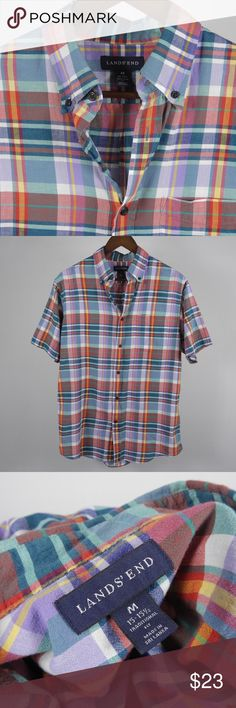 """M 15 -15.5 Lands' End Plaid s/s Button Shirt A4 Thank you for your interest in my item. You're going to love it — I guarantee it!   Top to Bottom: 30""""  Armpit to Armpit: 22.5"""" Shoulder to Sleeve Cuff: 9.5""""   Please remember to scroll through my other items and save on shipping when you purchase multiple items! Lands' End Shirts Casual Button Down Shirts"""