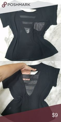 Sheer top Lightly used in good condition Features a top left pocket and open panel back Perfect for a party night Tops