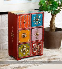 Rajasthani hand painted wooden jewellery cabinet by Pebbleyard on Indianroots.com