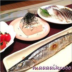 今日は魚の日~♪ - 12件のもぐもぐ - 秋刀魚の塩焼き☆しめ鯖☆シラス乗っけ奴☆サラダ by maaaaikoooo
