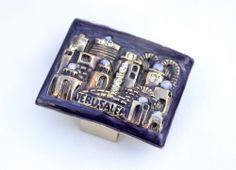 Enameled & Jeweled Jewish match box cover sabbath judaica JERUSALEM Purple
