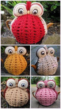 Vintage Crochet Owl Tea Cozies Crochet Pattern - Before After DIY Owl Crochet Patterns, Crochet Designs, Knitting Patterns, Scarf Patterns, Knitting Tutorials, Crochet Ideas, Bag Crochet, Crochet Dolls, Free Crochet
