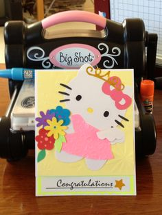 Hello Kitty card ~ first project with my new Sizzix Big Shot and Bigz die, plus Sizzix Sizzlits and Texturz Plates and my Marvy Uchida paper trimmer