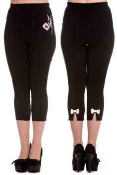 Sadie Black Capri Trousers by Hell Bunny