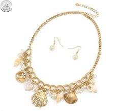 510510 NECKLACE/EARRINGS - GOLD SEA LIFE