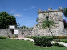 Front Entrance to the Coral Castle. The coral that you see was quarried here in Homestead. Ed's Tower is to the right, his 243 ton living quarters complete with a tool room below. There are 16 steps going up to Ed's room, a number that is represented in other locations at the Coral Castle.
