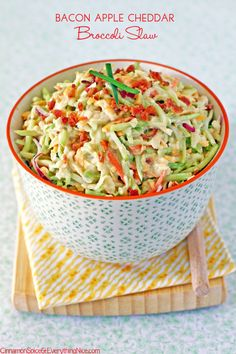 Bacon Apple Cheddar Broccoli Slaw- this sounds interesting, I must try it! Sub Greek yogurt in place of mayo