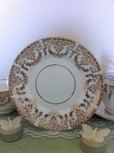 Vintage Tea plate tea plate in gold and by VintageShepherdess