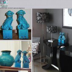 """CÃES DE FÓ ou """"cães da felicidade"""" (par) azul turquesa.... muito usados na decoração, ganharam popularidade devido ao seu significado e simbologia.... QUAL A SUA OPINIÃO sobre este nosso conjunto? (disponível) https://www.facebook.com/objecta.segunda.mao/"""