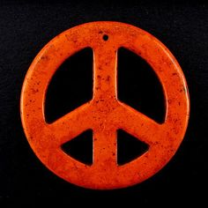 54mm orange turquoise peace sign coin disc pendant bead Orange And Turquoise, Symbols, Beads, Signs, Pendant, Beading, Shop Signs, Hang Tags, Bead