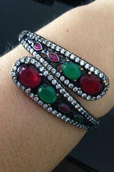 BraceletePedrasverdesevermelhas-PrataTurca