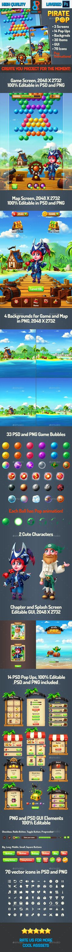 Pirate Pop Bubble Shooter Game by Master_Key | GraphicRiver Bubble Shooter Games, Game Gui, Pop Bubble, Master Key, Map Background, Splash Screen, Pop Games, Retina Display, Mobile Game