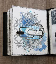 """Mini album """" Neige"""" Mini Album Scrap, Mini Albums Scrapbook, Scrapbook Journal, Scrapbook Pages, Christmas Mini Albums, Christmas Minis, Mix Media, Art Journal Pages, Journal Cards"""