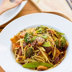 Affordable beef in an easy Asian-inspired sauce turns into a delicious, spicy, garlicky, noodle-y, gluten-free dish perfect for busy nights.