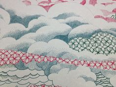 """Detail from """"Biwa,"""" screenprint on textile by Serena Perrone. She specializes in melding images recalling Japanese Edo woodcuts with domestic Western objects and architecture. Surface Design, Screen Printing, Objects, Textiles, Japanese, Ink, Quilts, Blanket, Detail"""