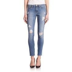 FRAME Le Skinny de Jeanne Distressed Jeans ($229) ❤ liked on Polyvore