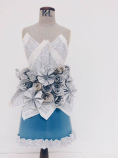 Dress made from recycled materials. Fashion workshop.
