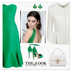 """""""Green"""" by bliznec ❤ liked on Polyvore featuring Alexander McQueen, J.Crew, Aquazzura, Dolce&Gabbana and Finn"""
