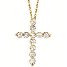 Diamond Cross Pendant Necklace in 14k Yellow Gold (1.01ct) - Allurez
