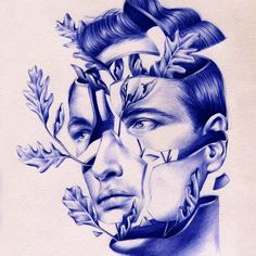 Spanish artist Nuria Riaza uses bright blue ballpoint ink to create drawings of segmented faces and other surreal scenes, pieces that capture an expressive detail most would not associate with the everyday office supply. Riaza has been attracted to the medium since she was five or six, and fully ded
