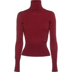 DSQUARED2 Slim Logo Turtle Bordeaux // Slim turtleneck sweater with... (16.740 RUB) ❤ liked on Polyvore featuring tops, sweaters, ribbed sweater, red top, red turtleneck, turtleneck sweater and sexy tops