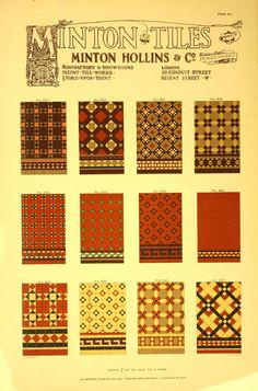Minton Tiles, 1905.    These tile patterns have ancient origins, but were very popular in the late 19th century.   From the Association for Preservation Technology (APT) - Building Technology Heritage Library, an online archive of period architectural trade catalogs. It contains thousands of catalogs. Select your material and become an architectural time traveler as you flip through the pages. This original catalog comes from the collection of the Canadian Centre for Architecture.