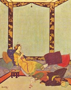 """The Lady Bedr-el-Budur and the wicked Magician. """"Aladdin and the Wonderful Lamp"""" from """"Sindbad the Sailor and other Stories from The Arabian Nights"""" (1914), illustrated by Edmund Dulac"""