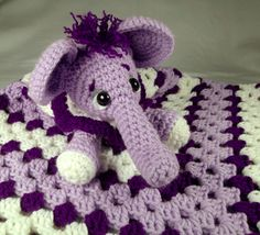 Purple Elephant Crochet Lovey Blankie for Baby, Perfect for Travel - Toy Wubby Security Blanket. $50.00, via Etsy.