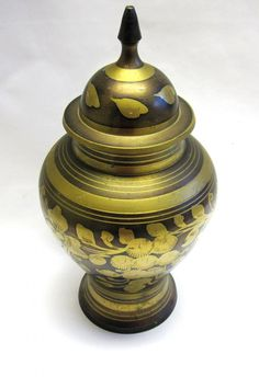 Copper & Brass Inlay Vase Ginger Jar by sweetie2sweetie on Etsy, $12.99