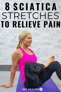 Sciatica is pain tingling or numbness that comes from the irritation of the sciatic nerve usually occurring on only one side of the body. Yoga For Sciatica, Sciatica Stretches, Sciatica Pain Relief, Sciatic Pain, Sciatic Nerve Damage, Hip Stretches, Sciatic Nerve Exercises, Back Pain Exercises, Yoga Exercises