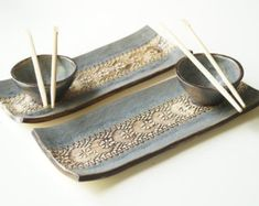 Sushi Serving Plate Turquoise Grey Platter Ceramic Tray by bemika click now for more. Pottery Plates, Slab Pottery, Ceramic Pottery, Pottery Art, Ceramic Art, Pottery Studio, Sushi Set, Sushi Dishes