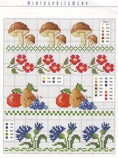 Cross Stitch Boarders, 123 Cross Stitch, Cross Stitch Fruit, Cross Stitch Kitchen, Cross Stitch Bookmarks, Cross Stitch Animals, Cross Stitch Flowers, Cross Stitch Designs, Cross Stitching