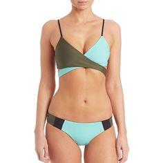 L*Space Chloe Wrap Bikini Top ($81) ❤ liked on Polyvore featuring swimwear, bikinis, bikini tops, apparel & accessories, pool, color block bikini, block bikini, swim suit tops, tankini top and swimsuits tops