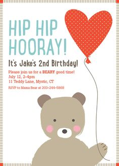 Free Printable Birthday Teddy Bear Invitation Littlestar cindy